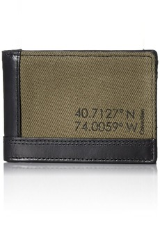Calvin Klein Men's Calvin Klein Slimfold Wallet Canvas and Smooth Leather black