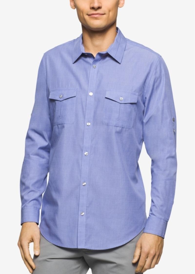 Calvin Klein Men's Chambray Double-Pocket Long-Sleeve Shirt