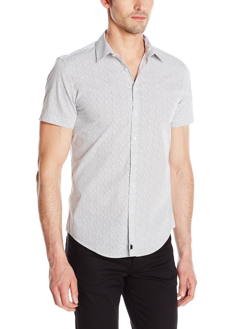 Calvin Klein Men's Ck One Pixel Print Short Sleeve Button Down Shirt