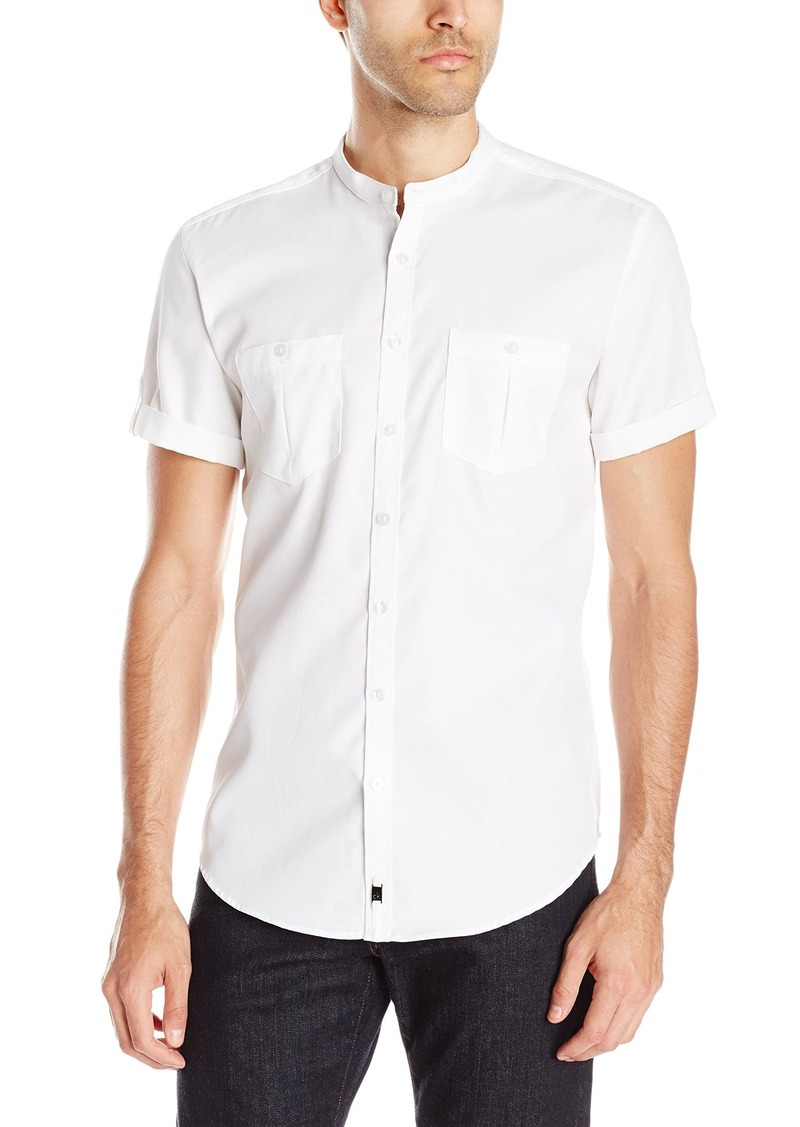 Calvin Klein Men's Ck One Texture Band Collar Short Sleeve Button Down Shirt