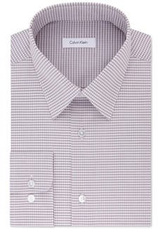 Calvin Klein Men's Classic Fit Non-Iron Performance Pink and Grey Check Dress Shirt