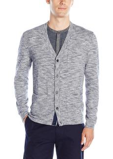 Calvin Klein Men's Cotton Viscose Slub Mixed Media Cardigan Sweater