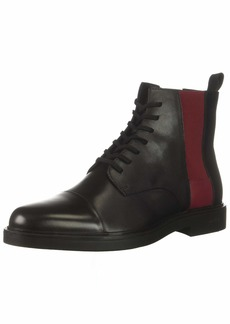 Calvin Klein Men's Dameon Nappa Calf Leather Combat Boot Black/red Rock  M US