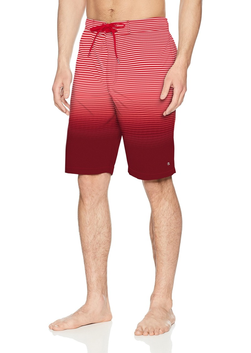 Calvin Klein Men's Degrade Stripe Printed Board Short Risk red