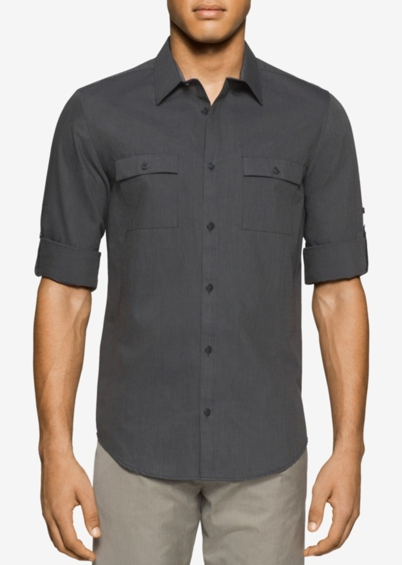 Calvin Klein Men's Denim Striped Short-Sleeve Shirt