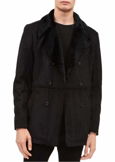 Calvin Klein Men's Double-Breasted Jacket with Faux Fur Collar
