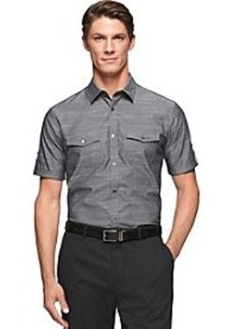 Calvin klein calvin klein men 39 s double pocket slub short for Mens two pocket short sleeve shirts