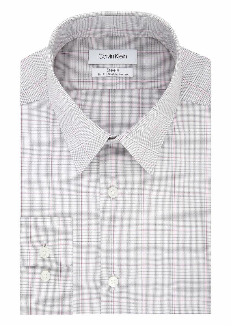 Calvin Klein Men's Dress Shirt Non Iron Stretch Slim Fit Check