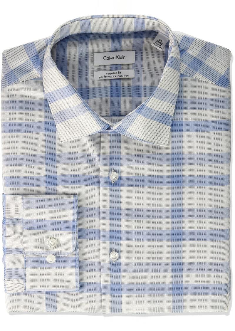 Calvin Klein Men's Dress Shirt Regular Fit Non Iron Plaid