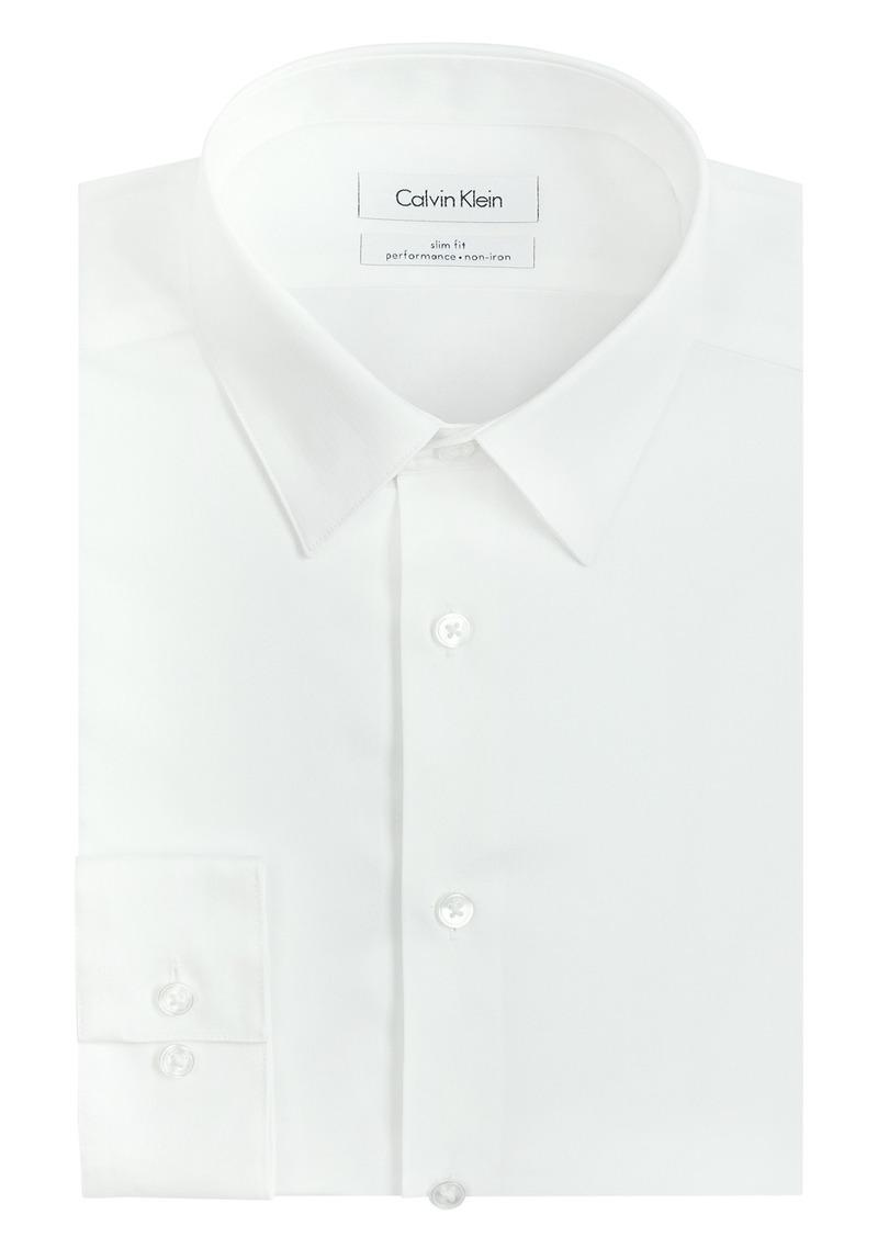 Calvin Klein Men's Dress Shirt Slim Fit Non Iron Herringbone