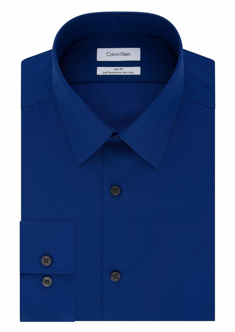 Calvin Klein Men's Dress Shirt Slim Fit Non Iron Herringbone   (Large)