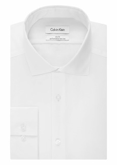 Calvin Klein Men's Dress Shirt Slim Fit Non Iron Herringbone Spread Collar