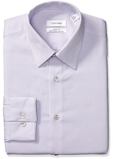 Calvin Klein Men's Dress Shirts Non Iron Regular Fit Stretch Mini Check