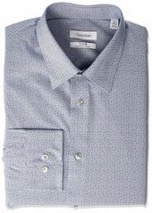 Calvin Klein Men's Dress Shirts Non Iron Regular Fit Stretch Print Point Collar