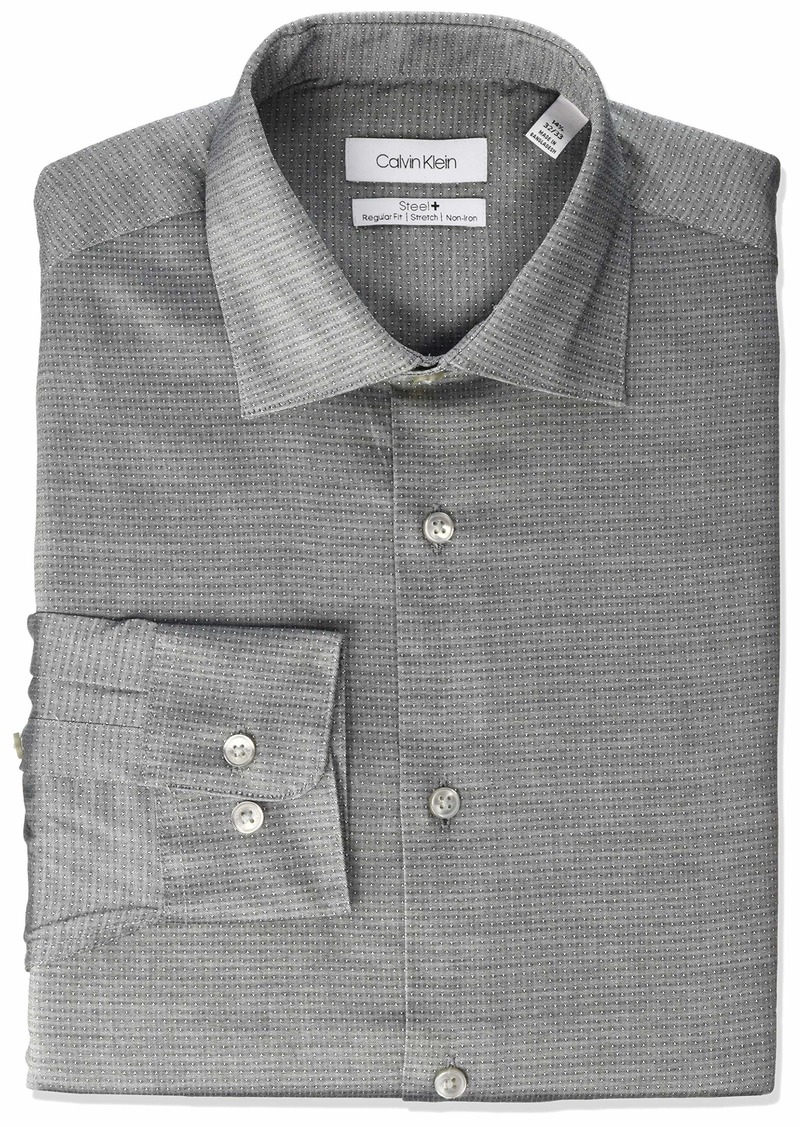 Calvin Klein Men's Dress Shirts Non Iron Regular Fit Stretch Solid