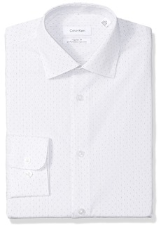 Calvin Klein Men's Dress Shirts Non Iron Regular Fit Stretch Textured Stripe ice Grey