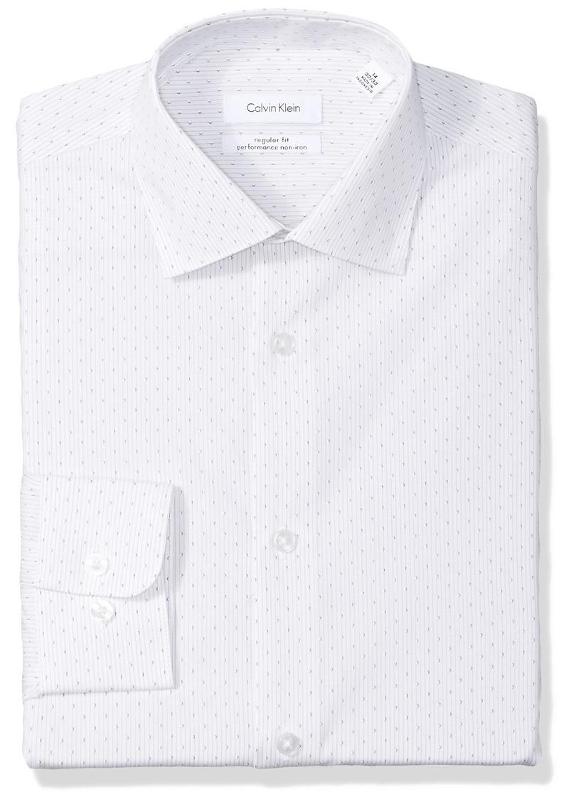 Calvin Klein Men's Dress Shirts Non Iron Regular Fit Stretch Textured Stripe ice Grey