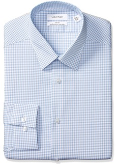 Calvin Klein Men's Dress Shirts Non Iron Slim Fit Stretch Check