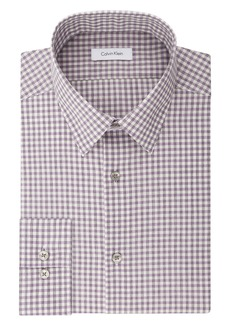 Calvin Klein Men's Dress Shirts Non Iron Slim Fit Stretch Check Spread Collar deep Purple