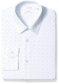 Calvin Klein Men's Dress Shirts Non Iron Slim Fit Stretch Dot Stripe