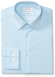 Calvin Klein Men's Dress Shirts Non Iron Slim Fit Stretch Grid Check