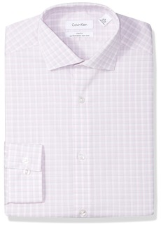 Calvin Klein Men's Dress Shirts Non Iron Slim Fit Stretch Multi Check Pink