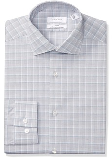 Calvin Klein Men's Dress Shirts Non Iron Slim Fit Stretch Plaid