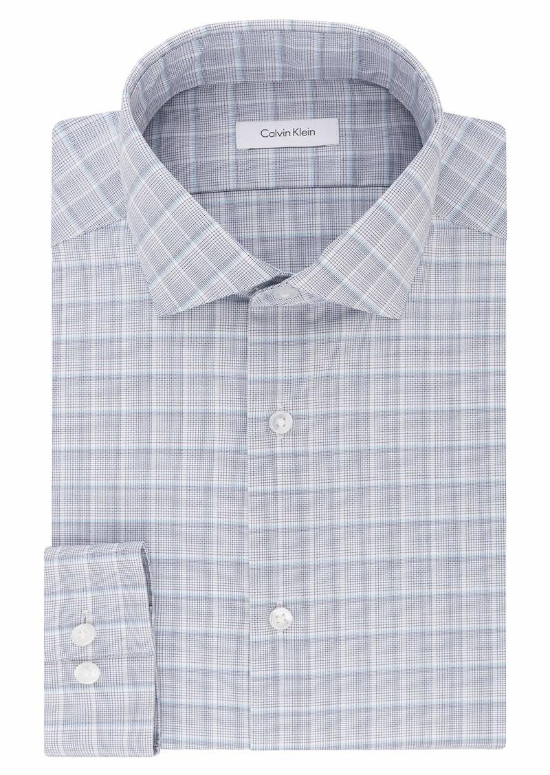 "Calvin Klein Men's Dress Shirts Non Iron Slim Fit Stretch Plaid  17"" Neck 32""-33"" Sleeve (X-Large)"