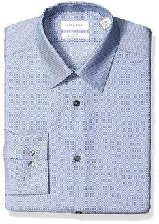 Calvin Klein Men's Dress Shirts Non Iron Slim Fit Stretch Woven Circle