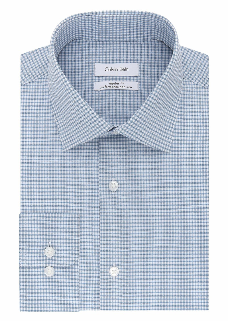 "Calvin Klein Men's Dress Shirts Non Iron Stretch Regular Fit Check  16.5"" Neck 32""-33"" Sleeve (Large)"