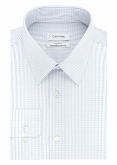 Calvin Klein Men's Dress Shirts Non Iron Stretch Regular Fit Check   (Large)