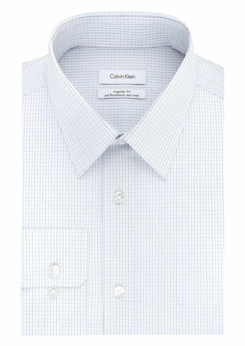 Calvin Klein Men's Dress Shirts Non Iron Stretch Regular Fit Check   (Large)