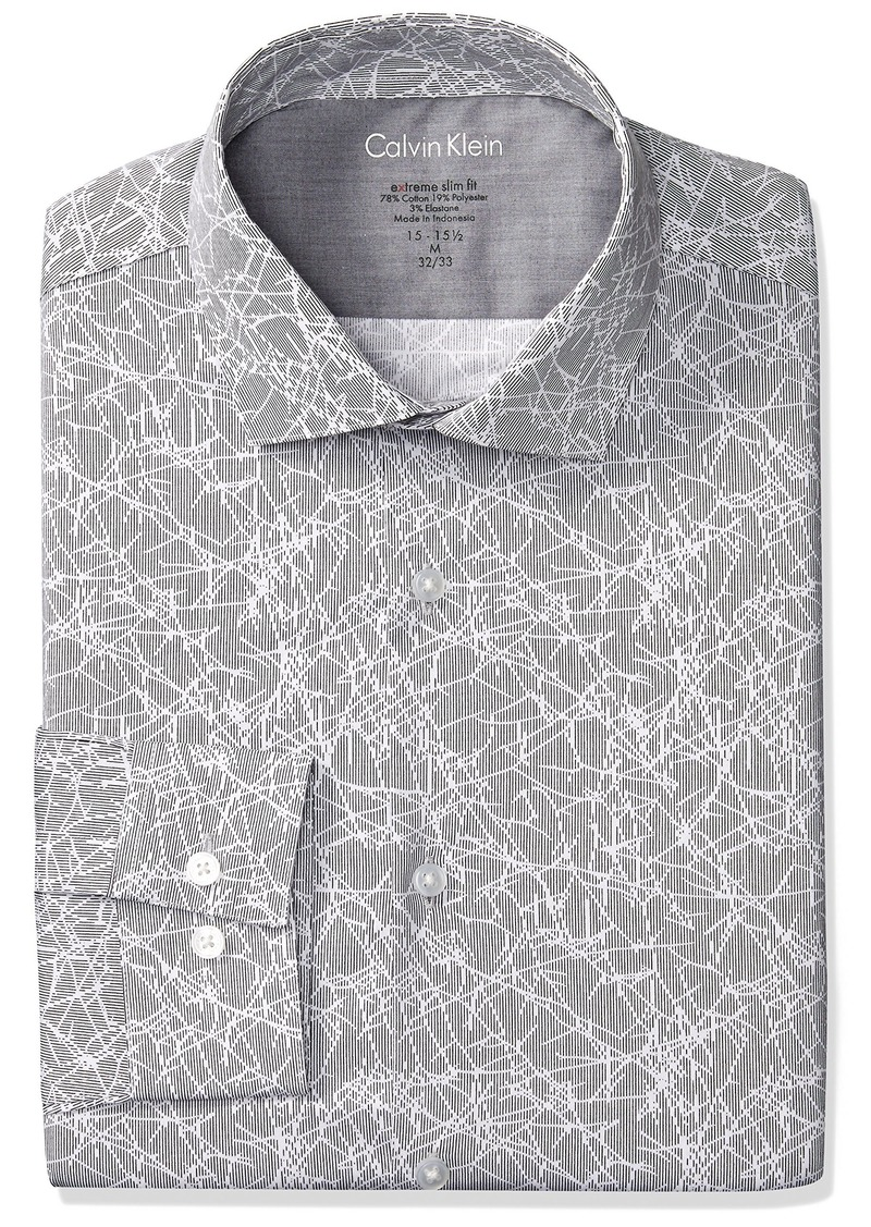 5f0620b151eb Calvin Klein Men's Dress Shirts Xtreme Slim Fit Non Iron Herringbone