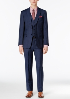 Calvin Klein Men's Extra-Slim Fit Blue Tonal Windowpane Vested Suit