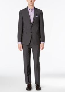 Calvin Klein Men's Extra-Slim Fit Charcoal Shadow Grid Suit