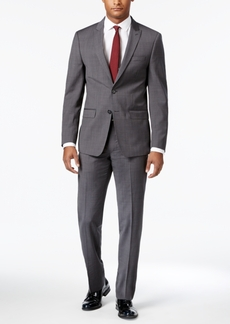 Calvin Klein Men's Extra-Slim Fit Gray Shadow Mini-Check Suit
