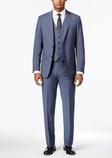 Calvin Klein Men's Extra-Slim Fit Light Blue Neat Vested Suit