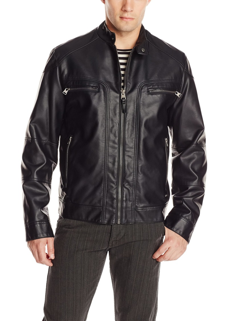 Calvin Klein Men's Faux Lamb Leather Moto Jacket with Hoodie
