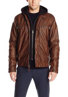 Calvin Klein Men's Faux Lamb Leather Moto Jacket with Hoodie