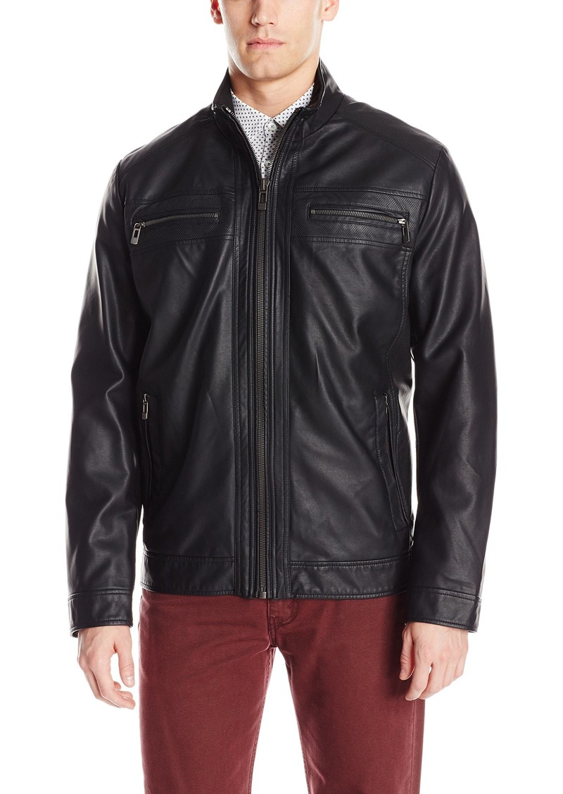 Calvin Klein Men's Faux Leather Open Bottom Jacket