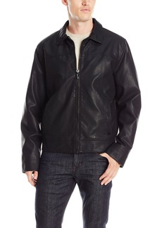Calvin Klein Men's Faux Leather Shirt Collar Jacket