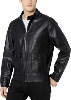 Calvin Klein Men's Faux Leather Two Pocket Jacket