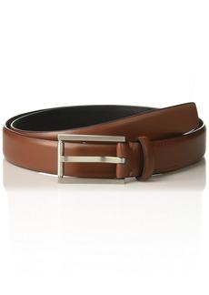 Calvin Klein Men's Feather Edge Dress Belt with Textured Roller Buckle dark cognac