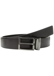 Calvin Klein Men's Flat Strap Reversible Leather Belt with Harness Engraved Buckle