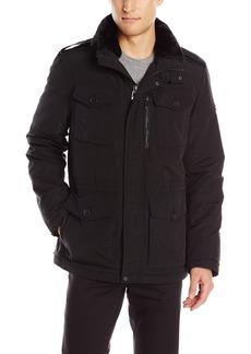 Calvin Klein Men's Four Pocket Faux Fur Collared Jacket