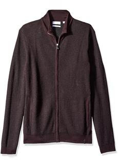 Calvin Klein Men's Full Zip Merino Plaited Sweater  2X-LARGE