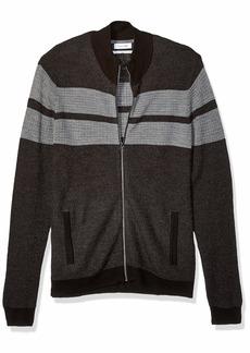Calvin Klein Men's Full Zip Merino Plaited Sweater ANSA Combo