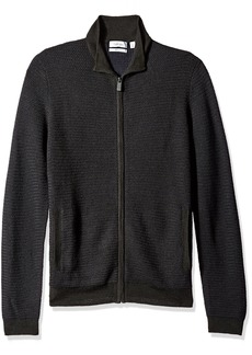 Calvin Klein Men's Full Zip Merino Plaited Sweater  LARGE