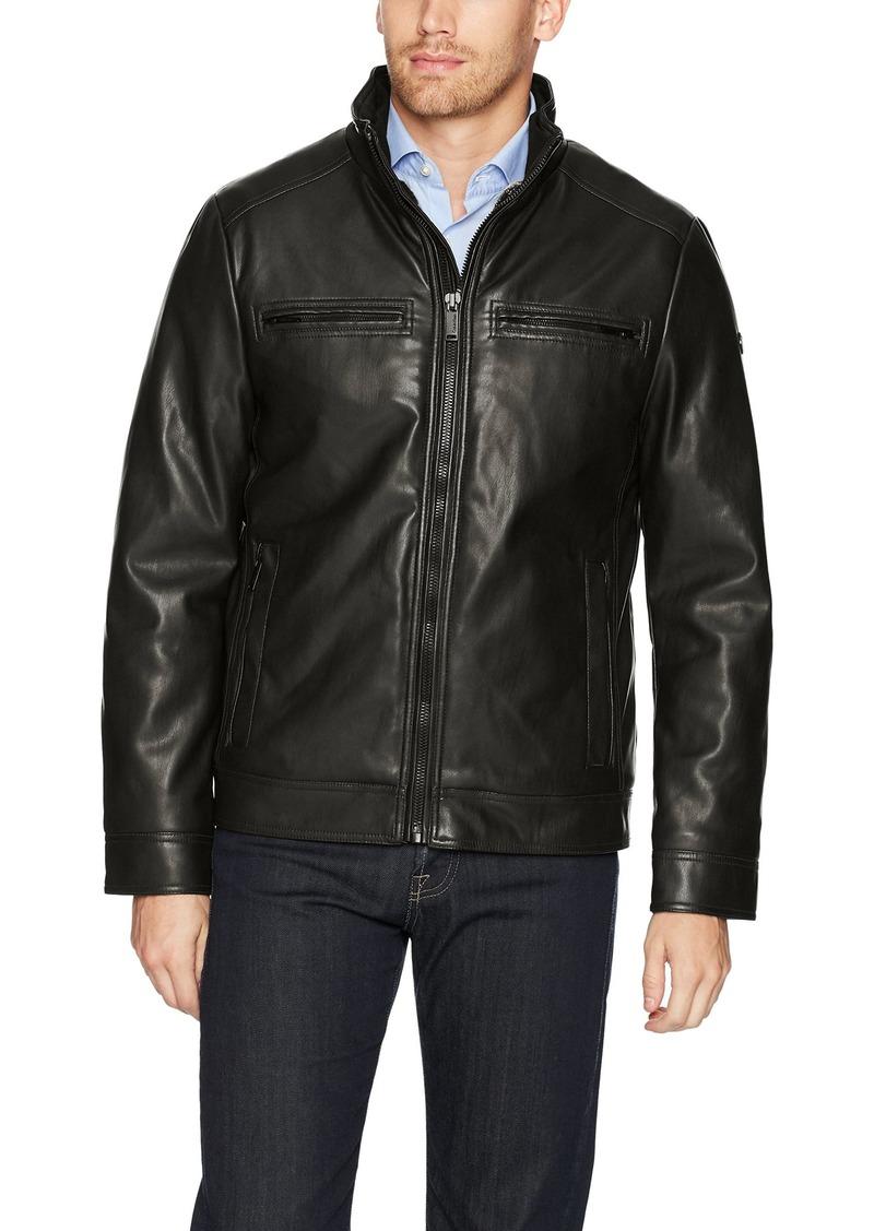 Calvin Klein Men's Fur Lined Faux Leather Jacket black