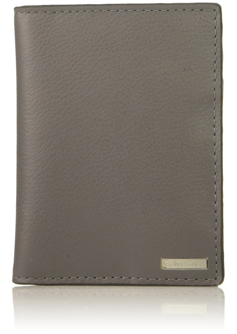 Calvin Klein Men's Gry Spazzalato Folding Card Case charcoal